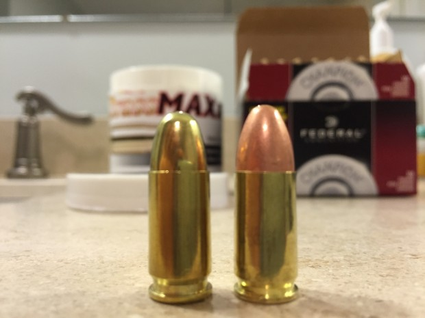 Tulammo Maxx next to Federal practice ammo - 9mm