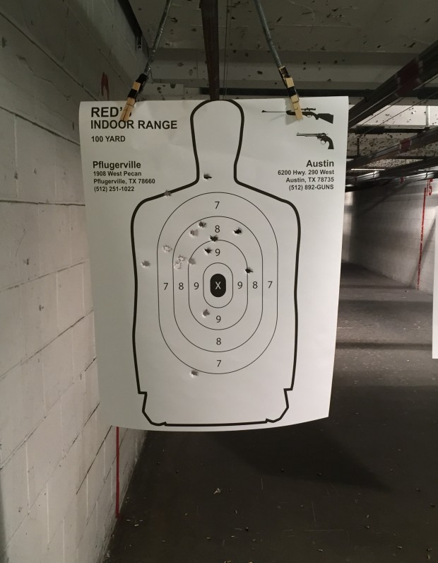 Walter PPQ M2 at 25 yd - 15 rounds from (crappy) bench rest